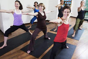 Group Doing Barre stretches